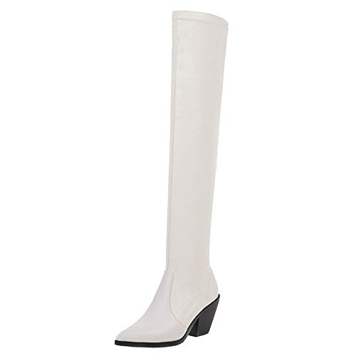 Zanpa Damen Mode Western Boots Pull on Blockabsatz Overknee Boots Party Hohe Suede White
