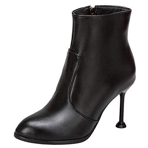 COOLCEPT Damen Party Buro Ankle Boots Pointed Toe High Heel Kurze Stiefel Black Gr 47 Asian