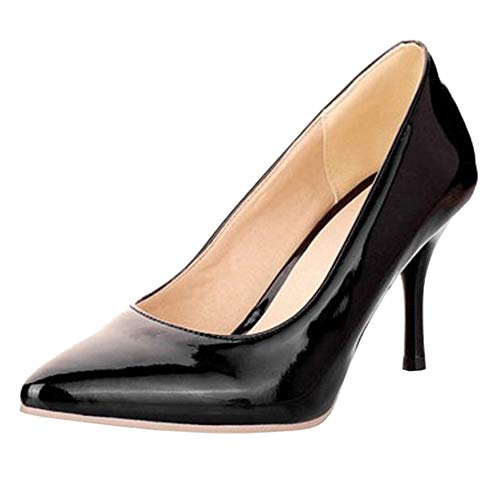 COOLCEPT Mode Event Damen Basic Simple Pointed Toe Stiletto Work Pumps (47 EU,Black)