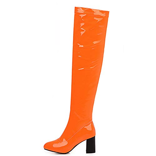JKYIUBG Lederschuhe Plus Size 48 Fashion Overknee Stiefel Damen Sweet Candy Rot Gelb Grün Overknee Stiefel Square High Heels Party Schu