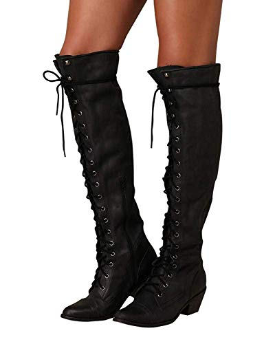 0b66cf7909b7 Minetom Winterstiefel Overknees Blockabsatz Stiefeletten Langschaft Mode PU Leder  Schuhe Retro Niet Seitenreißverschluss Schnüren